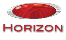 Horizon Trike and Marine Center. Oval red logo with stylized arching horizon